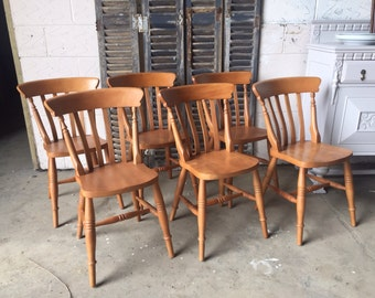 SOLD Set of six farmhouse dining chairs