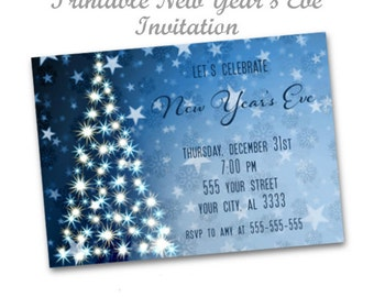 New Year's Eve Invitation, Christmas Party Invitation, Blue Sparkle Christmas Invitation, Printable Dinner Holiday Invitation