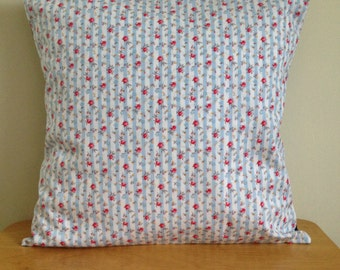 Light Blue and White Floral Stripe Cushion Cover, Cath Kidston INSPIRED Cushion Covers, Home Decor, Cath Kidston Home Decor, Floral Cushion
