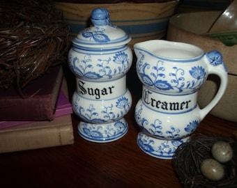 Gorgeous 1953 Blue Onion creamer and sugar