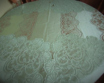Wonderful Large Sage green Lace Tablecloth - Purchased In France.