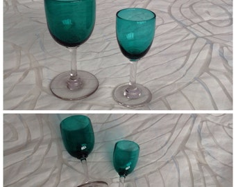 Two Vintage Emerald Green Wine Glasses, Clear Stems