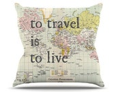 Travel Quote Throw pillow - To travel is to Live - World map fun, cute , travel decor, Vintage Maps, unique, pastel, US or Canada