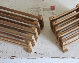 Vintage Small Wood Fence Pieces for Display or Play, Set of 10, Vintage Wood Toy