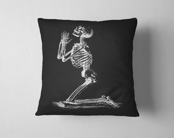 Praying Skeleton Pillow With Insert - Vintage Anatomy Print Pillow - Macabre Throw Pillow WITH INSERT- 18x18