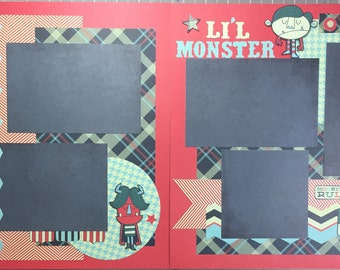 Lil' Monster(s)- scrapbook page kit, premade scrapbook kit, 12x12 premade page kit, premade scrapbook pages, 12x12 scrapbook layout