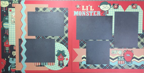 Lil' Monster 12x12 Premade Pages and Kit
