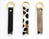 Gold Leather Keyring, Metallic Leather Key Fob, Black Leather Keychain, Leopard Key fob, Gold Keyring, Black Leather Keychain