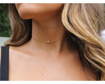 Gold choker/ dainty gold choker/ Minimalist choker/ gold bead choker / Simple choker jewelry/ delicate gold layered