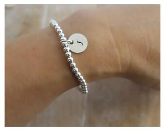 personalized Sterling silver Bracelet, Silver beads bracelet, Sterling silver ball bracelet, Sterling silver handstamped bracelet LN19