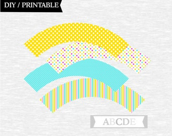 Instant Download Pink, Yellow, Aqua Blue, Green, Cupcake wrappers Baby Shower Birthday Party DIY Printable (PDCH003)