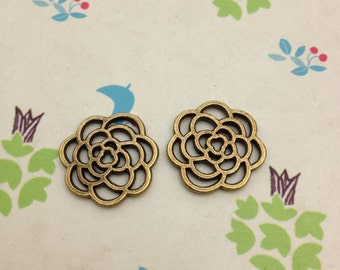 40 pcs of 16x16mm Antique Bronze Lovely Filigree Flower Charms Connectors