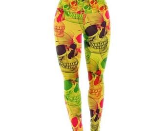 "Yoga Leggings - Yellow Green Retro Roberlan ""Skullfest""  RP1051A Great Gift Idea!"