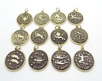Zodiac pendant etsy 12 zodiac charms star sign charms zodiac pendants 23mm gold charms double mozeypictures Images