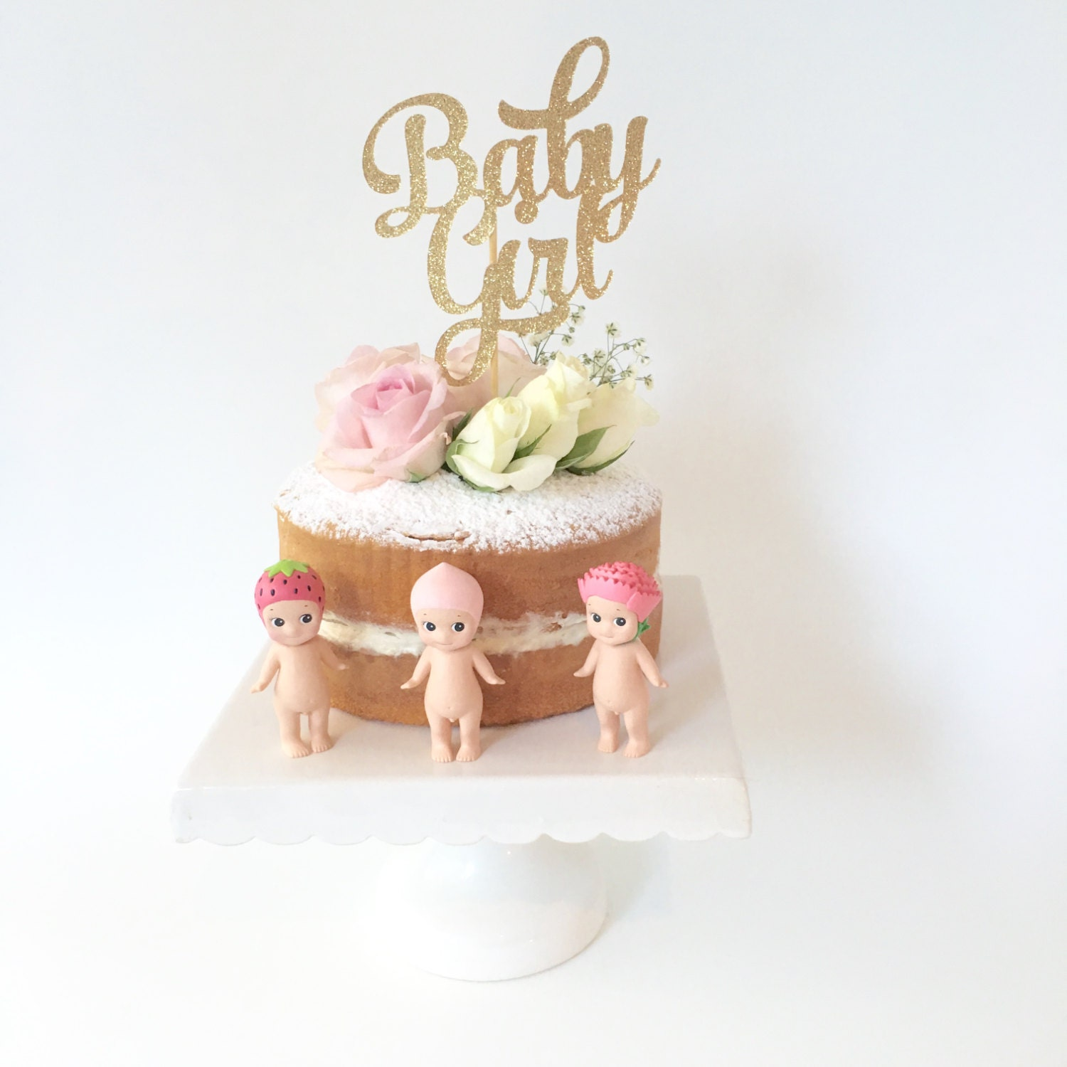 Cake Toppers Baby Shower Etsy : Baby Girl Gold Glitter Cake Topper / Baby Shower Gold Cake