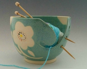 Wax Resist  Method, Modern Flower Decorated, Turquoise Glazed Yarn Bowl