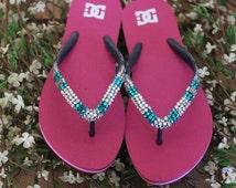 Size 9 pink flip flops with bling, bling flip flops, size 9 flip flops, DC flip flops, bling flip flops, women's size 9 flip flops