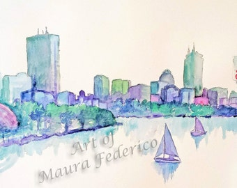 Digital download of Boston Skyline original watercolor