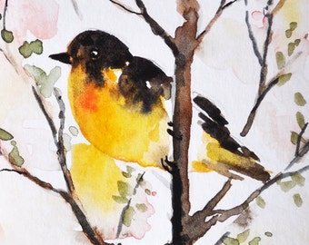 Original ACEO Impressionist Watercolor Painting, Original Art, Miniature Bird ACEO Painting 2.5x3.5 Inch SFA