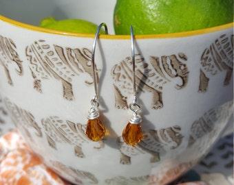 Golden Copper Swarovski Crystal Earrings