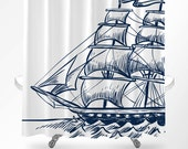 Nautical Shower Curtain, Nautical Bathroom Decor, Shower Curtain Navy, Bathroom Decor, Nautical Bath Decor, Kids Shower Curtain