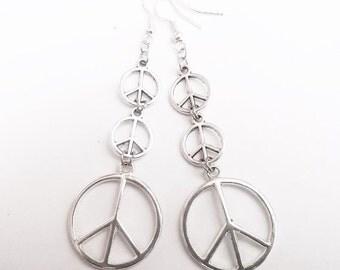 Dangling Peace Sign Earrings /Silver Earrings /Triple Peace Sign Earrings/ Handmade Jewelry /Hippie / Boho Earrings/.925 Sterling Silver