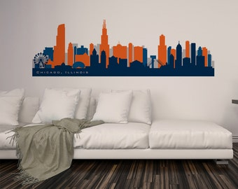 Chicago Skyline Wall Art chicago wall decal | etsy