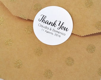 Thank You Stickers, Custom Wedding Stickers, Wedding Labels for Favor Bags, Personalized Sticker Labels, 60 Personalized Stickers