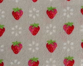 One Half Yard of Fabric Material - Strawberries and Petals