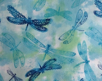 One Half Yard of Fabric Material - Lace Wing Dragonfly