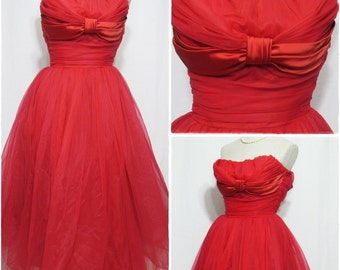 1950s Red Dress, Full Skirt of Crinoline, Fitted Bodice with Satin, Womens Formal Wear, Juniors Prom Dress by Manny Johnson, Extra Small