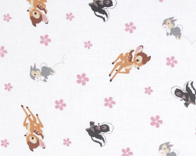 Springs Creative - Disney Bambi Woodland Dreams Toss White - Cotton Woven Fabric