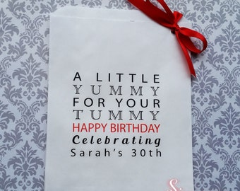 Happy birthday personalised yummy for your tummy White Paper Candy Buffet Lolly Bags x 50