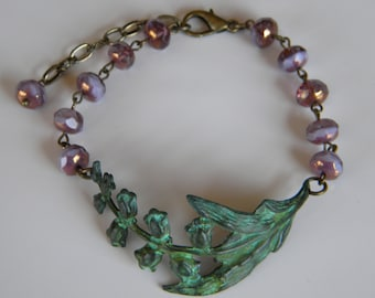 Verdigris Lily of the Valley with Lavender Czech Beaded Bracelet Botanical Patina Lily of the  Valley Mother's Day Spring Bracelet