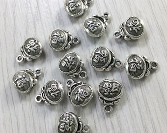 30  pcs Luck  Charms ,Chinese Charms ,Antique Silver luck charms   , 12mm x 10 mm .