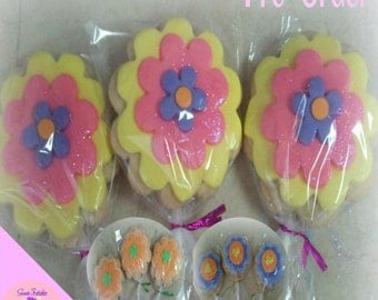 """Flowers Sugar Cookie 2""""- 12 Sugar Cookies Decorated With Marshmallow Fondant-Party Favors"""