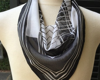 Silk Scarf Black and White Abstract JONES of NEW YORK Square