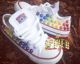 LOW Rainbow spike studded converse (hard bottoms)- also AVAILABLE IN Black