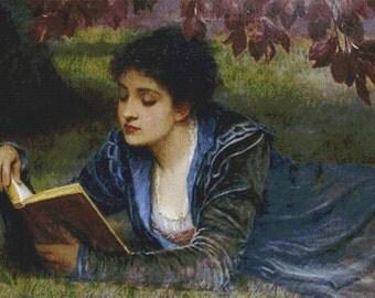 Girl Reading PDF Cross Stitch Pattern