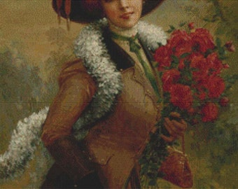 Elegant Lady with a Bouquet of Roses PDF Cross Stitch Pattern