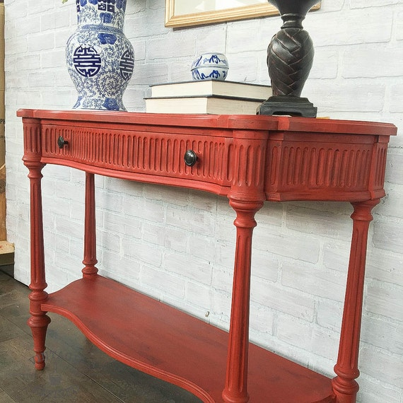 Foyer Table Red : Available red painted entryway table
