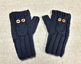 "Organic Fingerless Gloves ""Owl"" for toddlers, dark gray, fingerless mittens wool merino, wristwarmers"