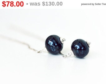 40% OFF! Galaxy Earrings - Lampwork Earrings - Black Earrings - Chain Earrings - Silver Earrings - Glass Earrings - Calaxy Collection