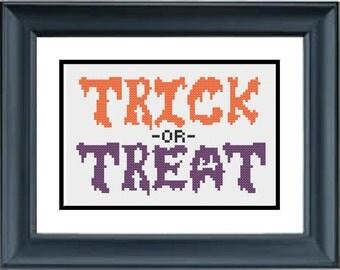 Trick or Treat - Halloween Cross Stitch Pattern - PDF Cross-Stitch Pattern