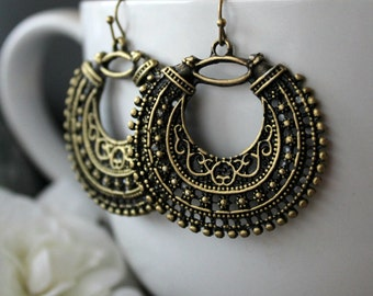 Gypsy Style Baroque Hoop Earrings, Arabesque Gold Bronze Dangles, Boho Earrings, Boho Jewelry,  Gypsy Jewelry