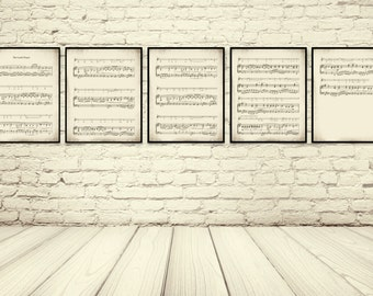 The Lords Prayer, Christian Hymnal, Sheet Music Print, Sheet Music Art, Sheet Music Wall Art, Christian Scripture, Christian Gift, Set of 5