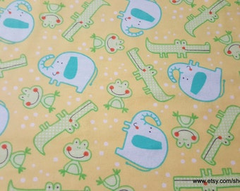 Flannel Fabric - Happy Jungle Tossed Animals Yellow - 1 yard - 100% Cotton Flannel