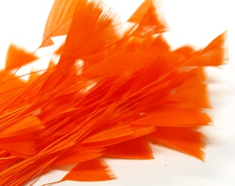 80pc x Bulk Millinery Feathers - Orange