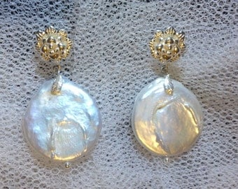 Big Silver Coin Pearl Earrings With Lovely Flower Posts & Silver Leaves