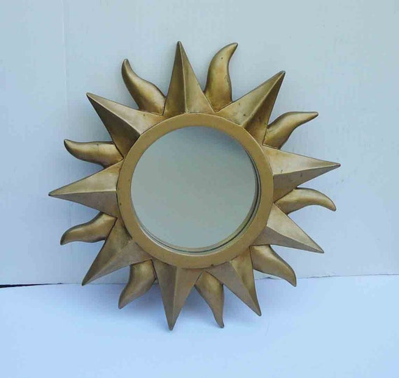 "Vintage Sunburst Goldtone 11 1/2"" Mirror Sun Boho Chic Gypsy Bohemian Mid Century Wall Decor Hanging Hippie Sunshine Table Centerpiece Home"